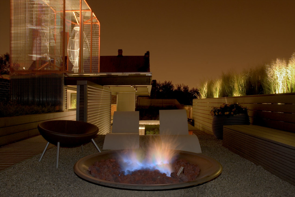 Rooftop with firepit at night