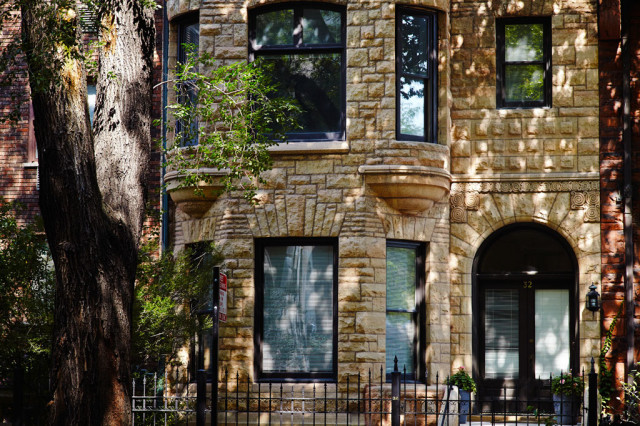 One of the beautiful Gold Coast brownstones that line the streets.