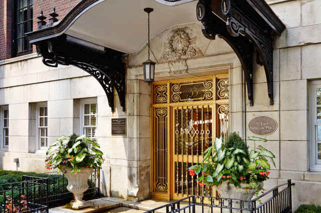 A favorite entranceway for vintage Gold Coast condos.