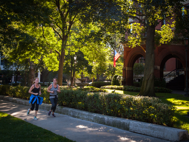 Jogging by the Cardinal's mansion.